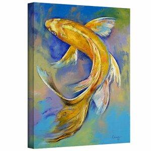 ArtApeelz Orenji Butterfly Koi Painting Print on Canvas