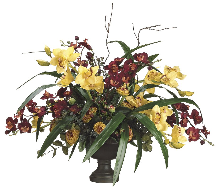 "29"" Orchid and Ranunculus with Ceramic Container"