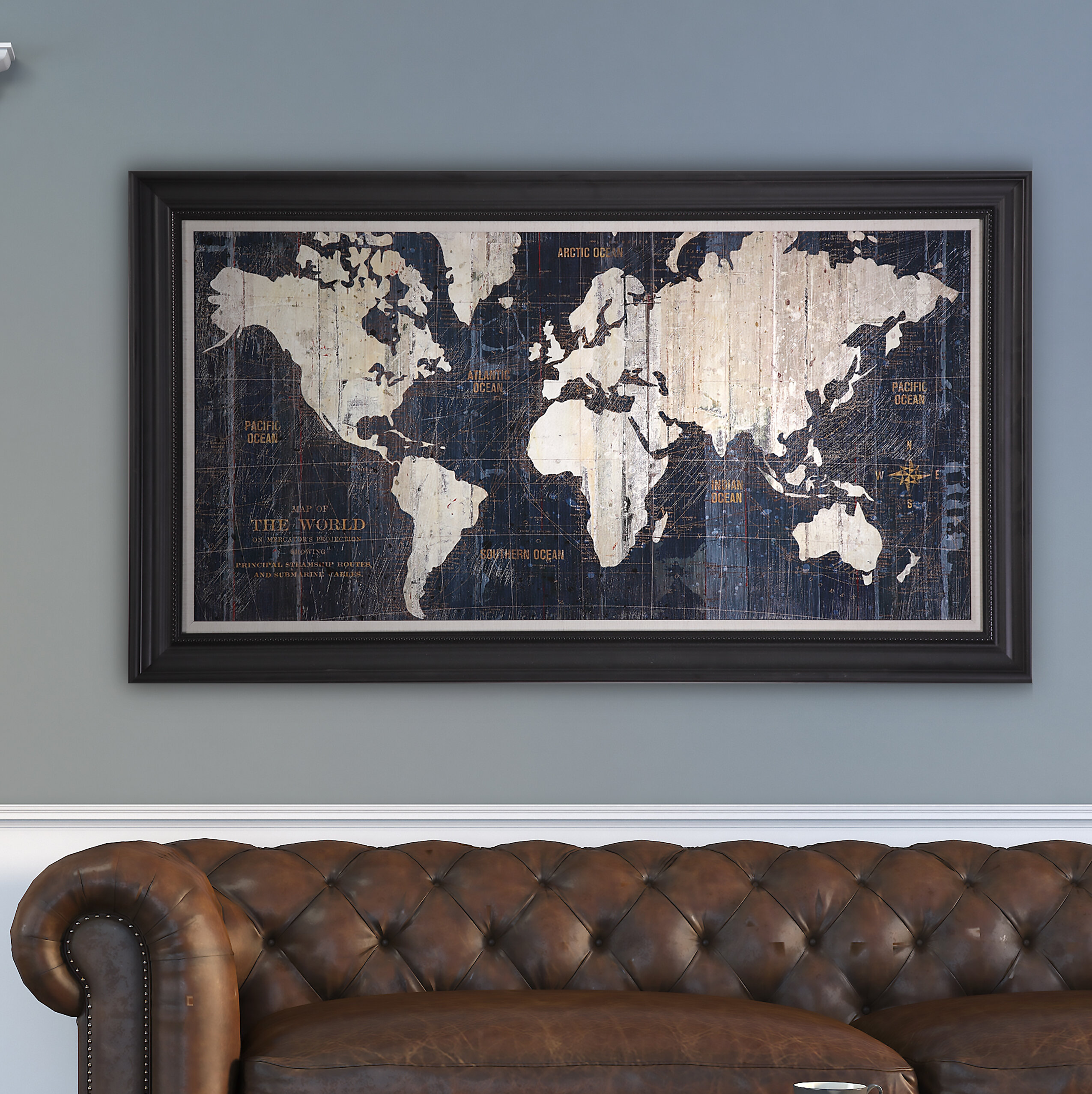 Old World Map Blue Framed Graphic Art On Wrapped Canvas Reviews