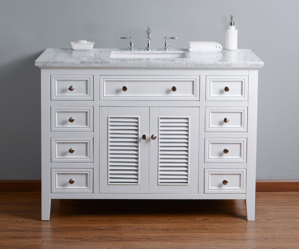 "Beachcrest Home Gotha 3 Light Vanity Light Reviews: Beachcrest Home Richards 48"" Single Bathroom Vanity Set"