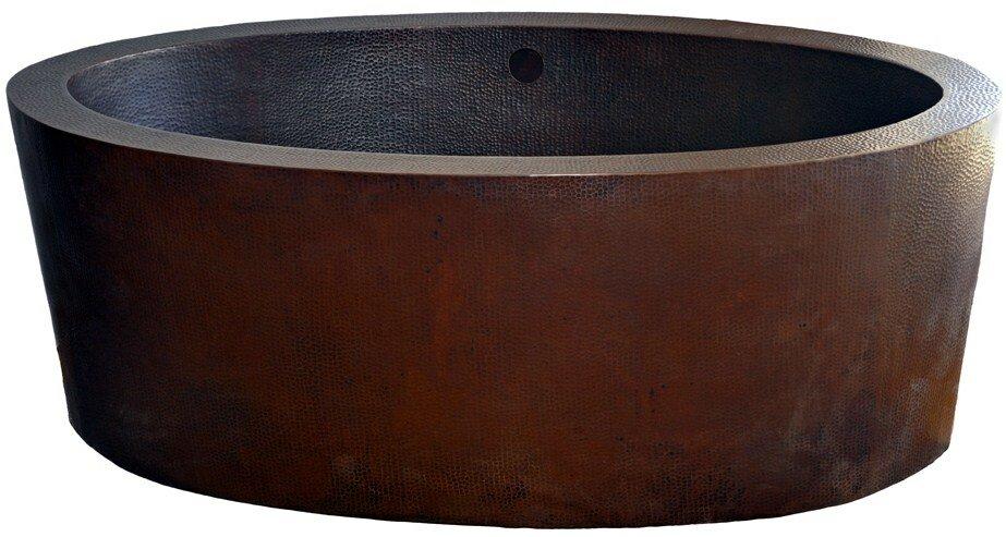 Novatto Dakota Freestanding Copper Bath Tub Soaking Bathtub | Wayfair