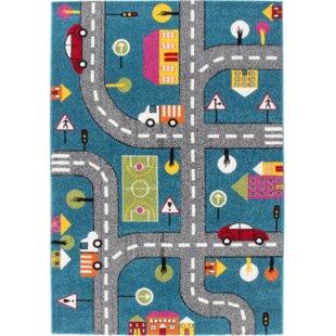 Howton Kids Play Cars Design Blue Gray Area Rug