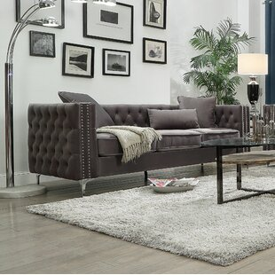Gillian Ii Sofa In Dark Grey Velvet