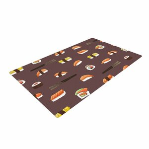 Strawberringo Sushi Pattern Orange/Brown Area Rug