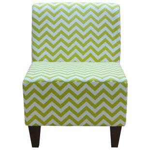 Penelope Armless Chevron Canal Green Slipper Chair