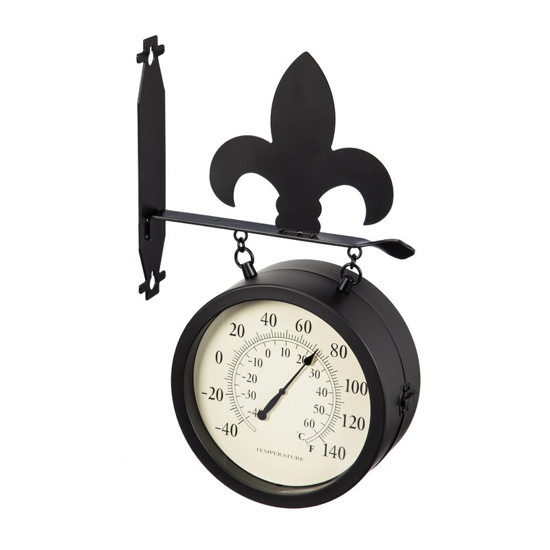 Patrica 2 Sided Outdoor And Thermometer Fleur De Lis Wall Clock