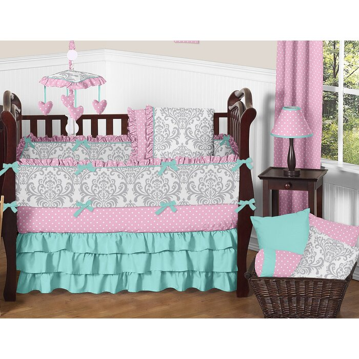 baby blue cot linen nursery bedroom childrens bedding blankets sets crib curtain bed linens liner