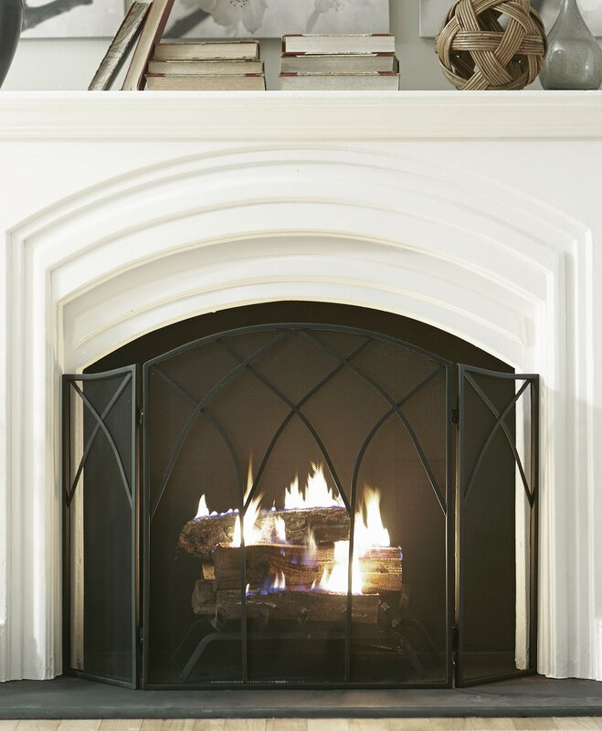 Pleasant Hearth Gothic 3 Panel Steel Fireplace Screen & Reviews ...