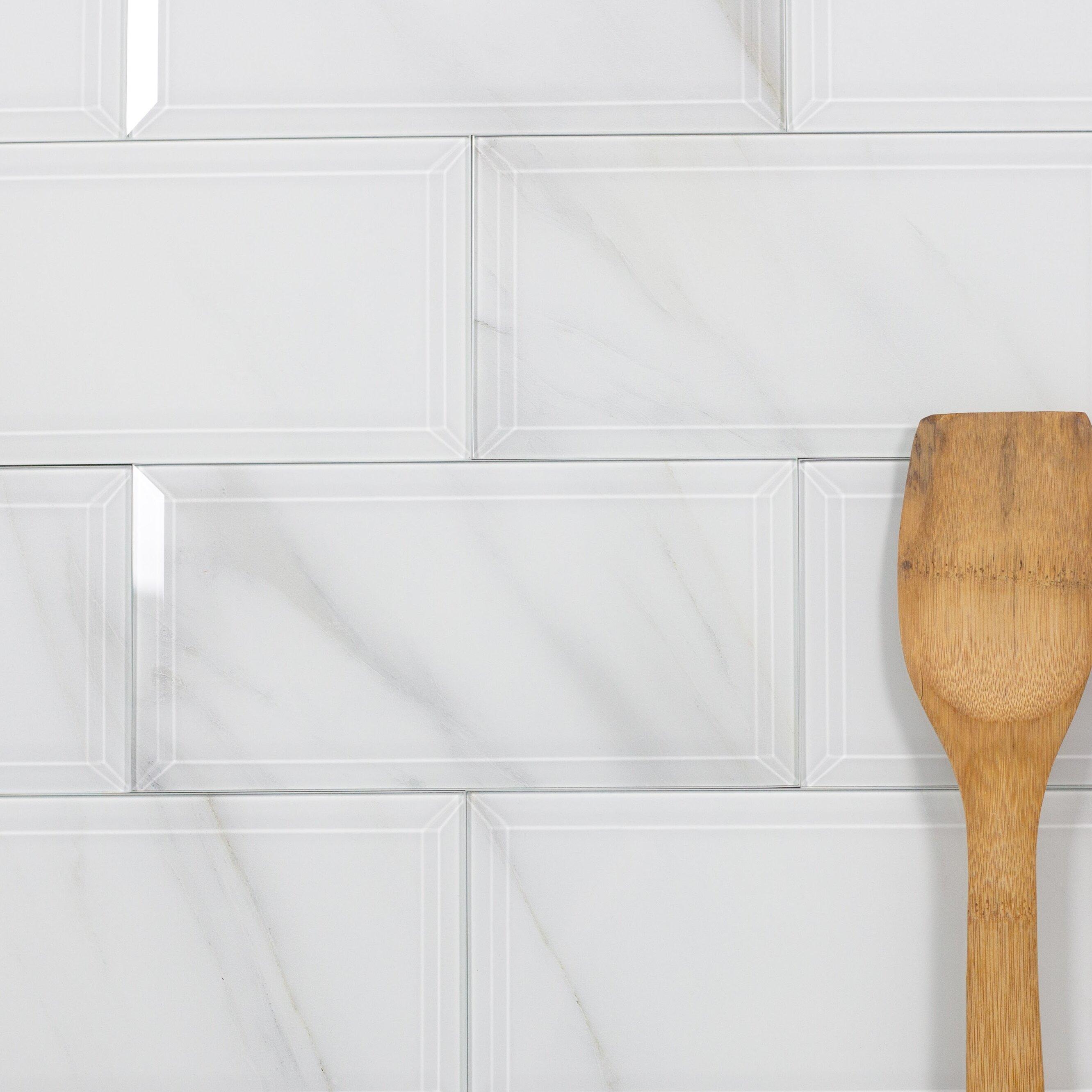 Abolos Nature Wall Backsplash Beveled Edge 4 X 8 Gl Subway Tile In White Gray Veins Wayfair