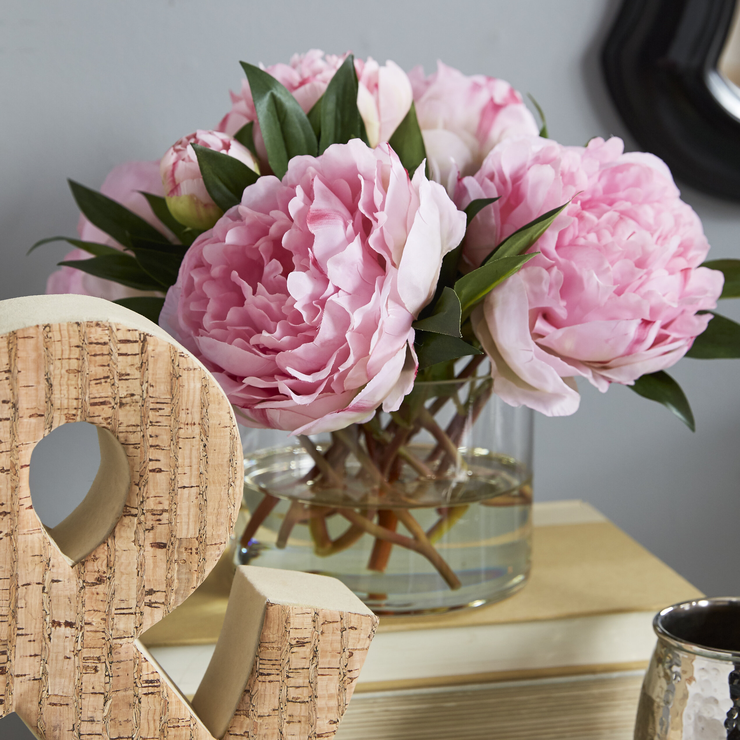 Large Peonies And Medium With Buds In Glass Vase Reviews Birch Lane