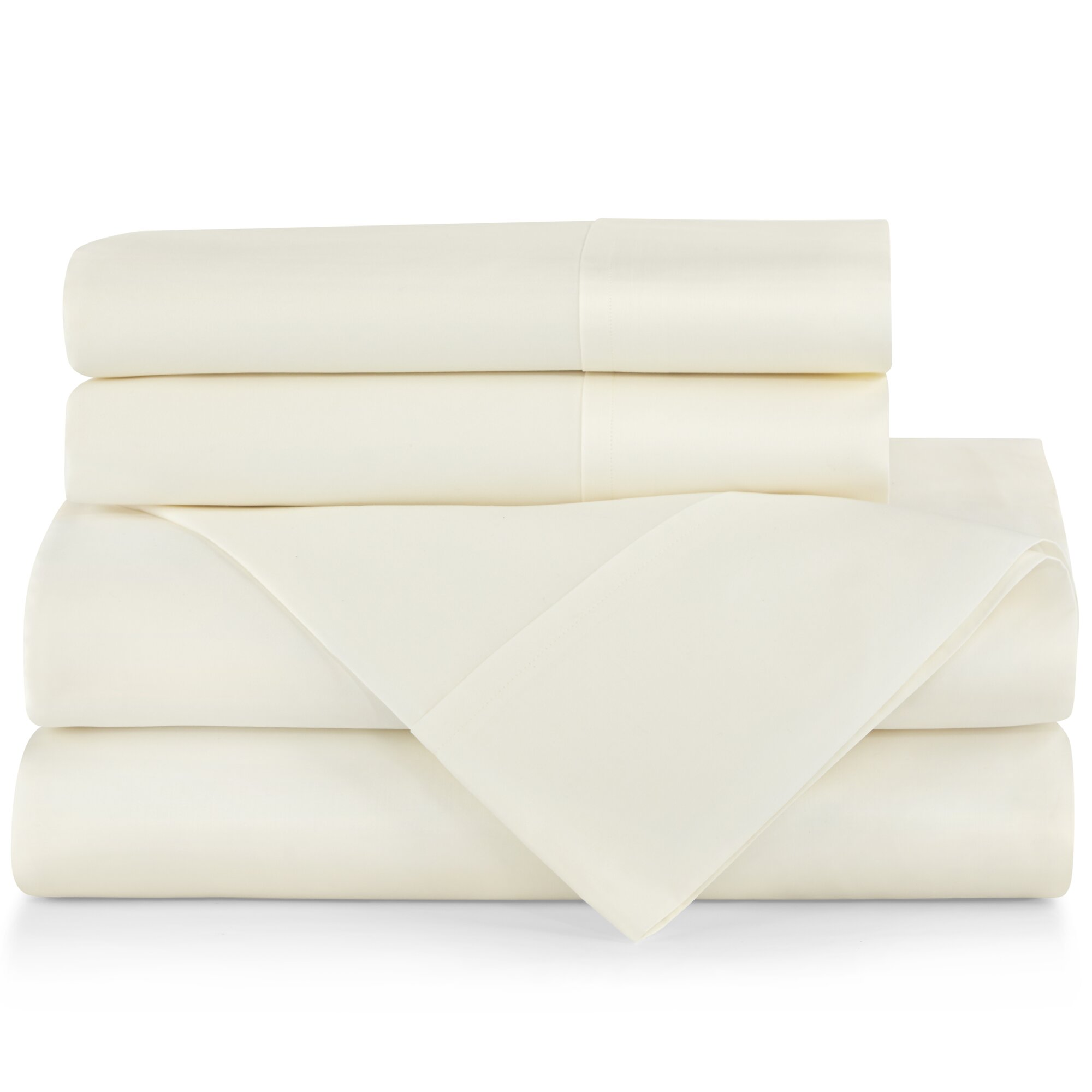Peacock Alley 6PC King Sheet Set LONG STAPLE Cotton 4 Pillowcases Ivory $450 New