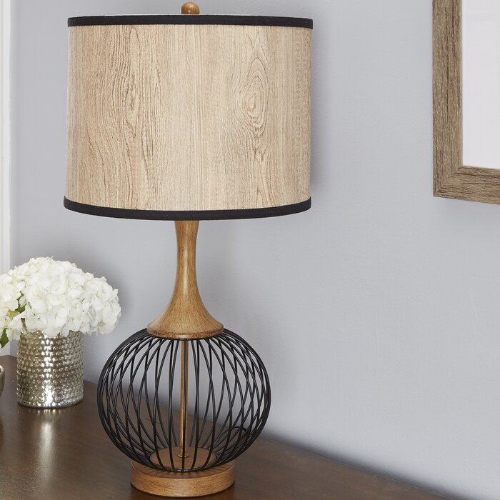 Bungalow rose rishi 18 table lamp with metal wire cage and faux rishi 18 table lamp with metal wire cage and faux wood shade keyboard keysfo Choice Image