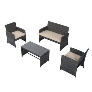 rattan wicker 4 piece deep sofa seating group with cushion