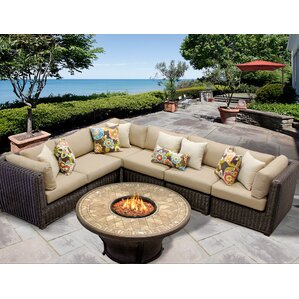 Venice 7 Piece Fire Pit Seating Group with Cushion  sc 1 st  Wayfair : pit sectional for sale - Sectionals, Sofas & Couches