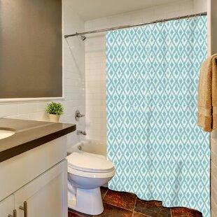 Ortez Ikat Ogee Print Single Shower Curtain