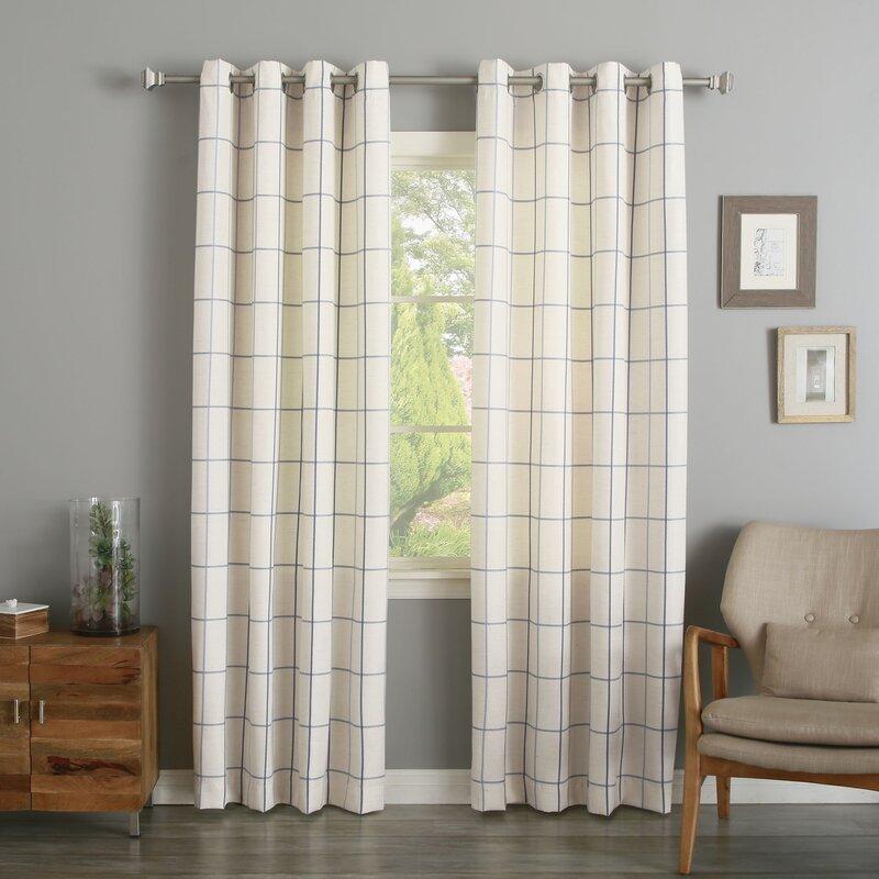 Grommet Grid Stitched Linen Blend Plaid & Check Semi-Sheer