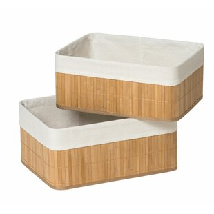 2 Piece Bamboo Basket Set by Castleton Home