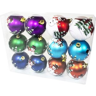 color ball ornament with snowman design set of 2 - Purple Christmas Tree Ornaments
