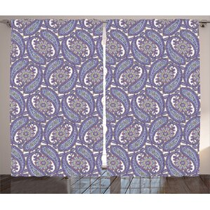 Paxton Paisley Indian Floral Ornamental Patterned Design With Raindrop  Shaped Artwork Graphic Print U0026 Text Semi