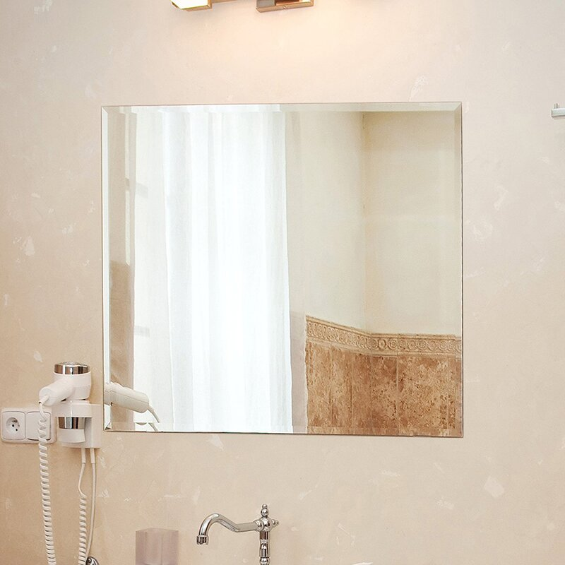 Fab Glass And Mirror Square Beveled Polished Frameless Wall Mirror
