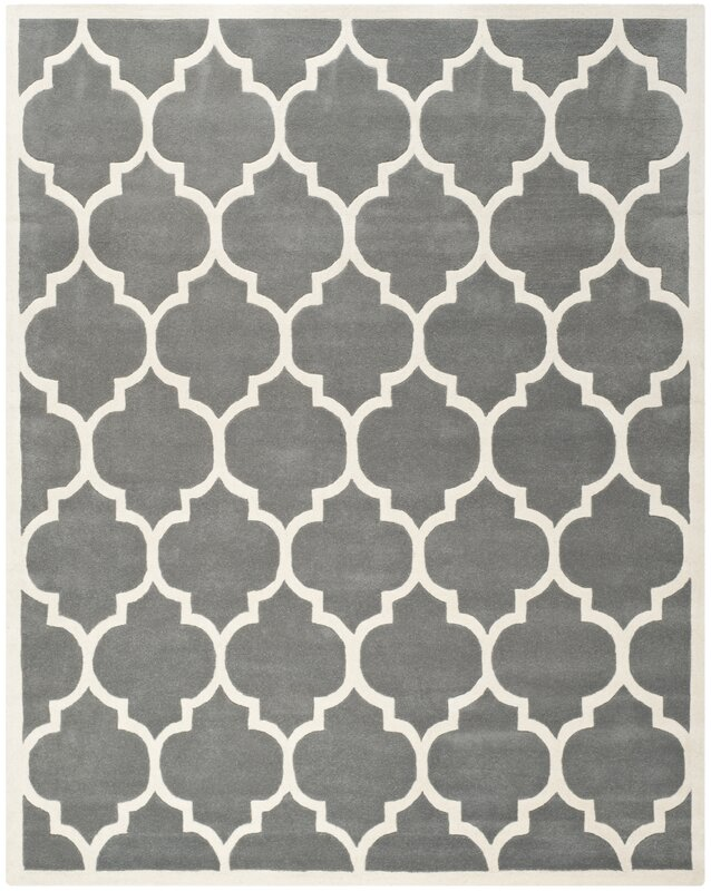 wrought studio wilkin dark grey & ivory moroccan area rug