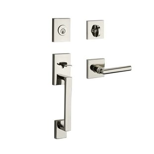 La Jolla Single Cylinder Handleset With Tube Door Lever Contemporary Square  Rose