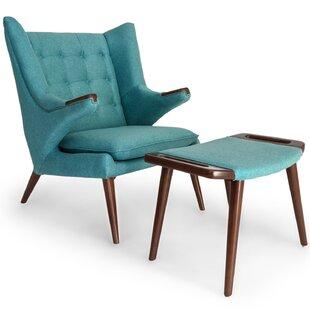 Bear Wegner Papa Wingback Chair And Ottoman