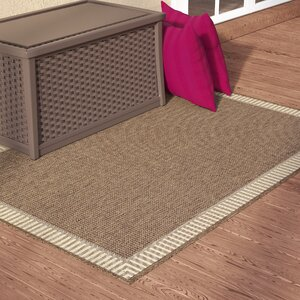 Westlund Wicker Stitch Cocoa/Natural Indoor/Outdoor Area Rug