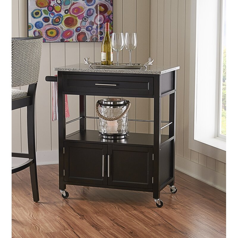 Beau Dunkle Kitchen Cart With Granite Top