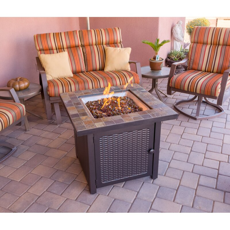 AZ Patio Heaters Slate Propane Gas Fire Pit Table
