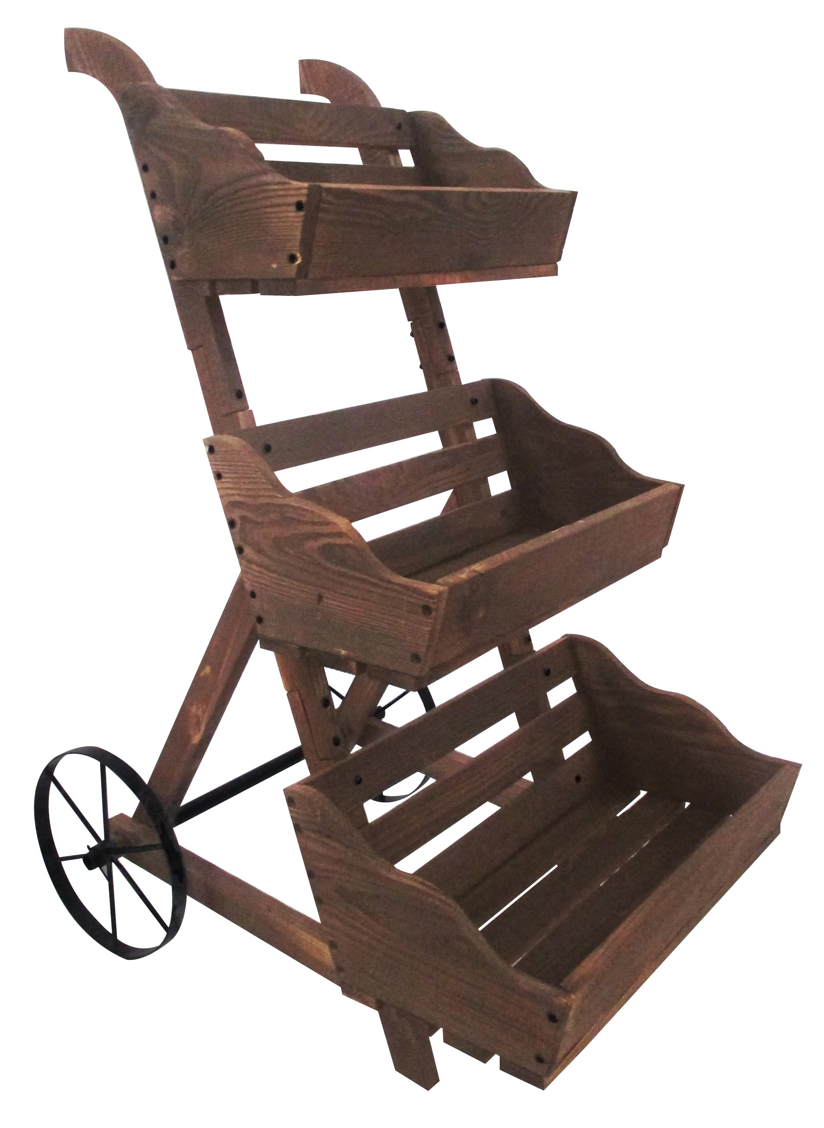 Charred 3 Tiered Wood Wheelbarrow Planter Reviews Joss Main