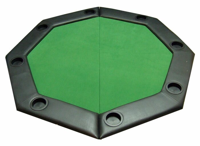 Merveilleux Padded Octagon Folding Poker Table Top With Cup Holders In Green