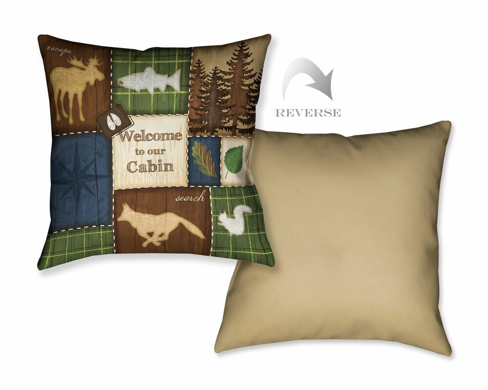 LauralHome Welcome to Our Cabin Throw Pillow