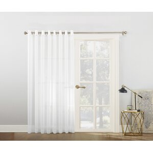 Emily Voile Sliding Door Patio Solid Semi Sheer Grommet Single Curtain Panel