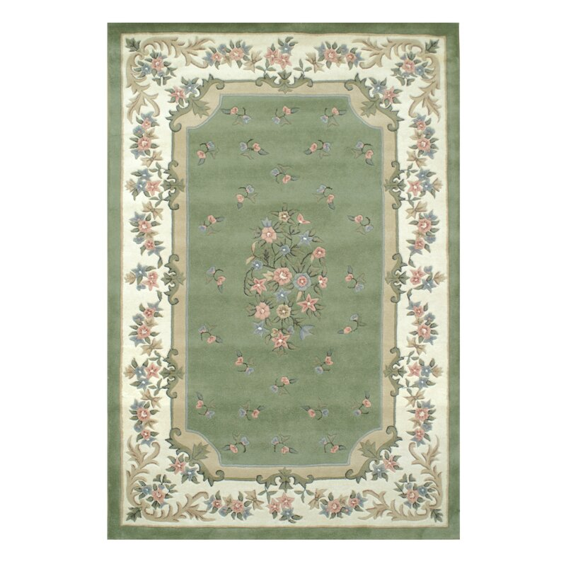 American Home Rug Co Floral Garden Aubusson Sage Ivory