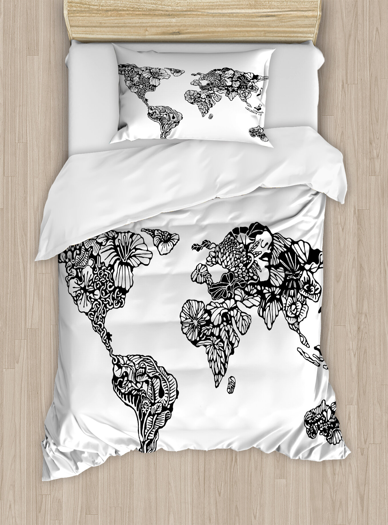 Ambesonne modern artistic sketch style world map with floral charm ambesonne modern artistic sketch style world map with floral charm purity on earth themed print duvet set wayfair gumiabroncs Images
