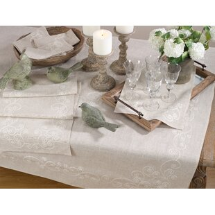 Arik Embroidered Swirl Design Casual Natural Linen Blend Tablecloth