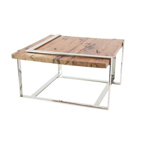 Queena Modern Stainless Steel and Wood Coffee Table with Angled Frame by 1..