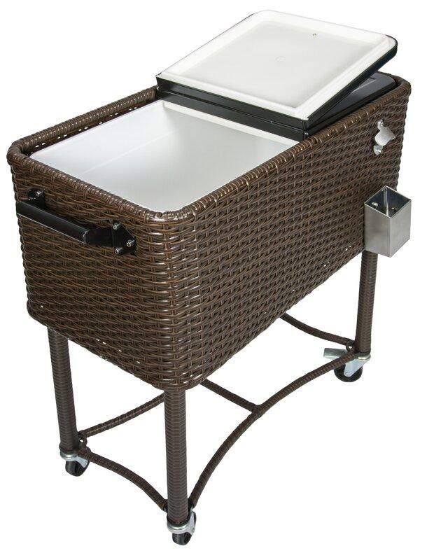 Patio Rolling Cooler Cart: Permasteel 80 Qt. Wicker Patio Rolling Cooler & Reviews