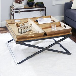 Alewife Industrial Coffee Table with Tray Top