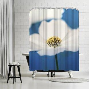 Mirja Paljakka White Cosmos In Blue Shower Curtain