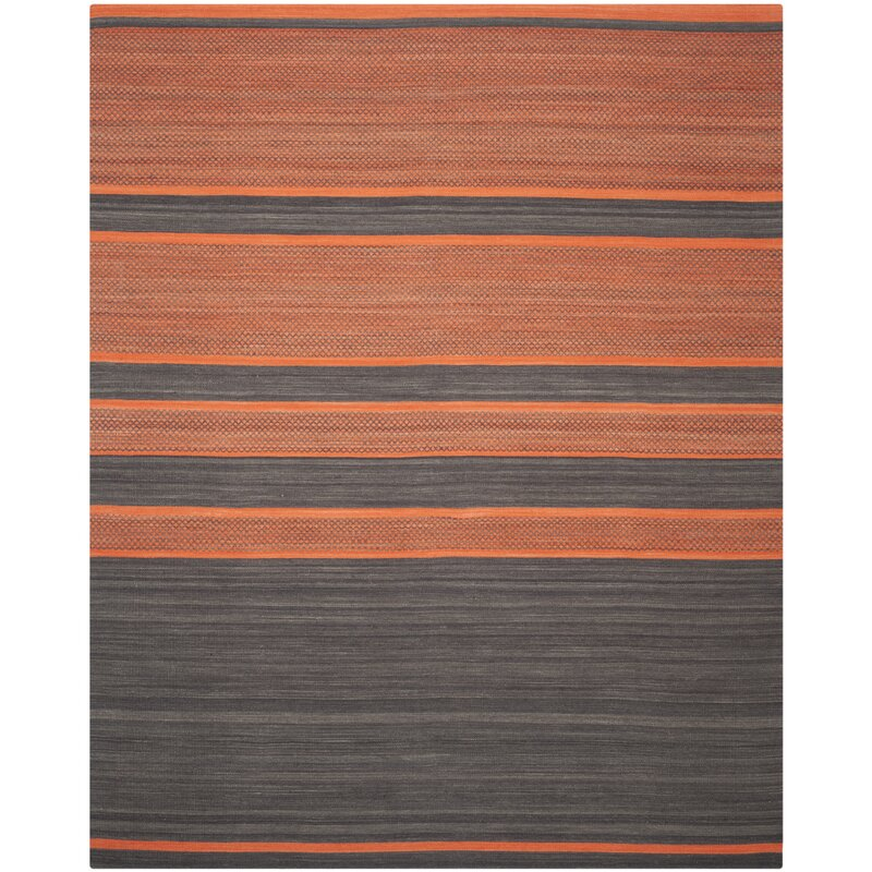 Kilim Dark Grey / Orange Striped Rug