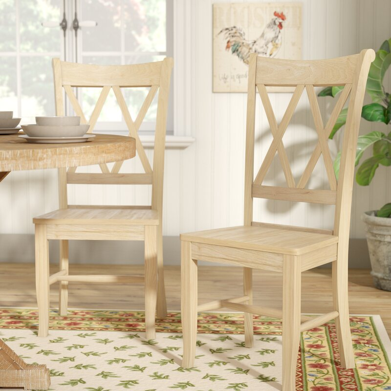 August Grove Toby Cross Back Solid Wood Dining Chair