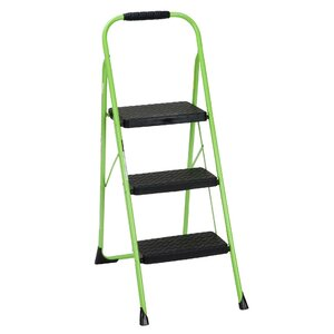 3-Step Steel Big Folding Step Stool with 200 lb. Load Capacity