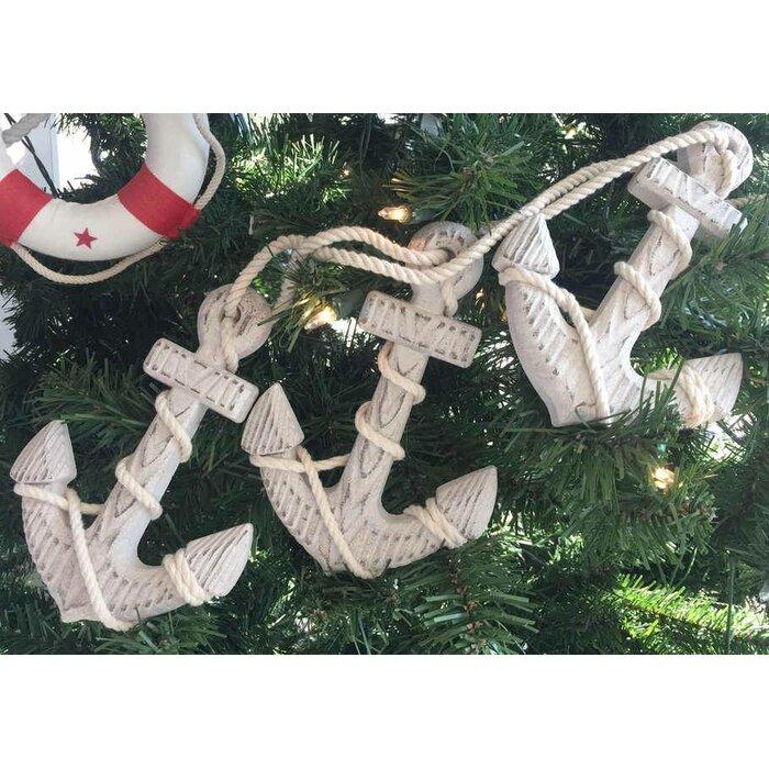 Wooden Rustic Decorative Triple Anchor Christmas Ornament