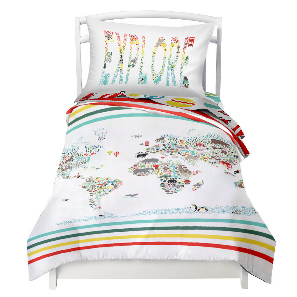 Where the polka dots roam world map explorer reversible duvet where the polka dots roam world map explorer reversible duvet cover set reviews wayfair gumiabroncs Choice Image