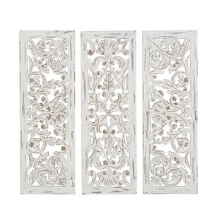 3 Piece Rustic Carved Ornate Wood Wall Décor Set