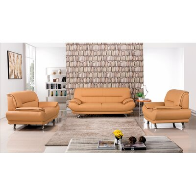 AmericanEagleInternationalTrading Arcadia Leather 3 Piece Living Room Set Upholstery: Yellow