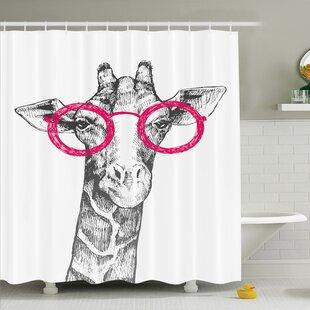 Giraffe Hipster Animal Glasses Shower Curtain Set