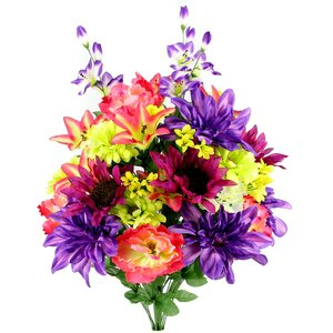 Artificial New Dahlia, Sunflower, Peony, Hydrangea Mixed Flower Bush with Greenery